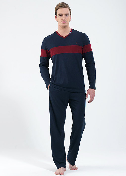 Blackspade Mens Long Stripe Pyjama Set