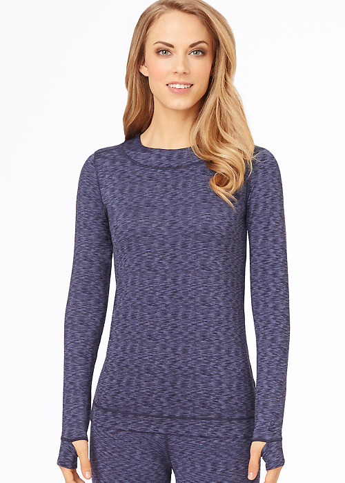 Cuddl Duds Flex Fit Long Sleeve Crew with Thumbholes