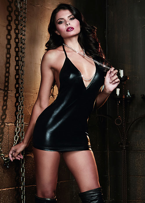 Dreamgirl Faux Leather Look Halter Chemise With Choke Chain Collar