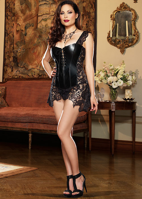 Dreamgirl Faux Leather and Venice Lace Fully Boned Corset Queen Size