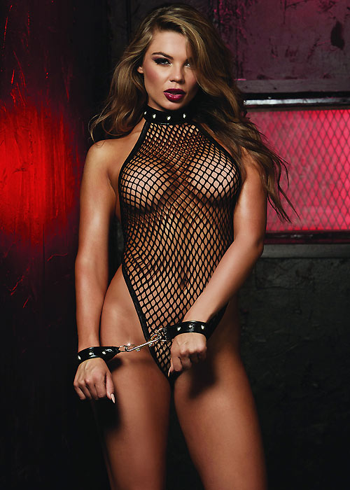 Dreamgirl Fishnet Halter Teddy With Neckline Stud Details And Open G-String Back With Matching Wrist Restraints