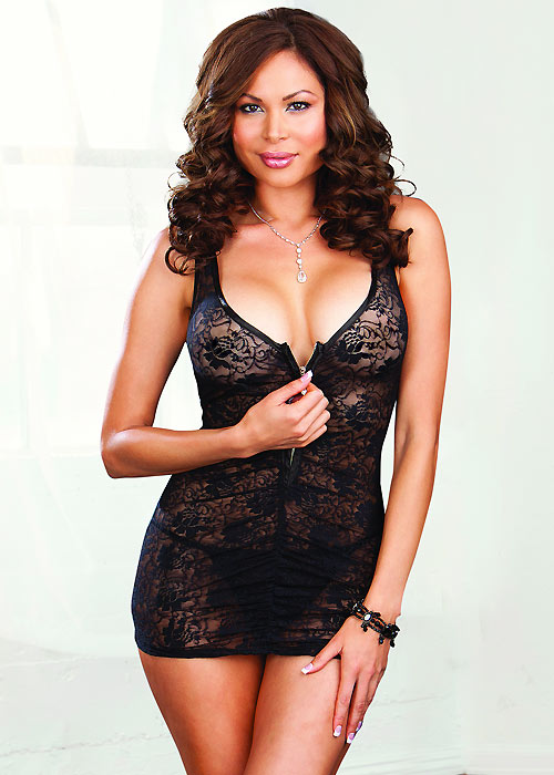 Dreamgirl Lace Chemise With Zipper Front and Matching Thong