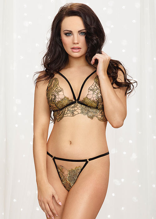 Dreamgirl Metallic Gold Lace Bralette And Thong Set