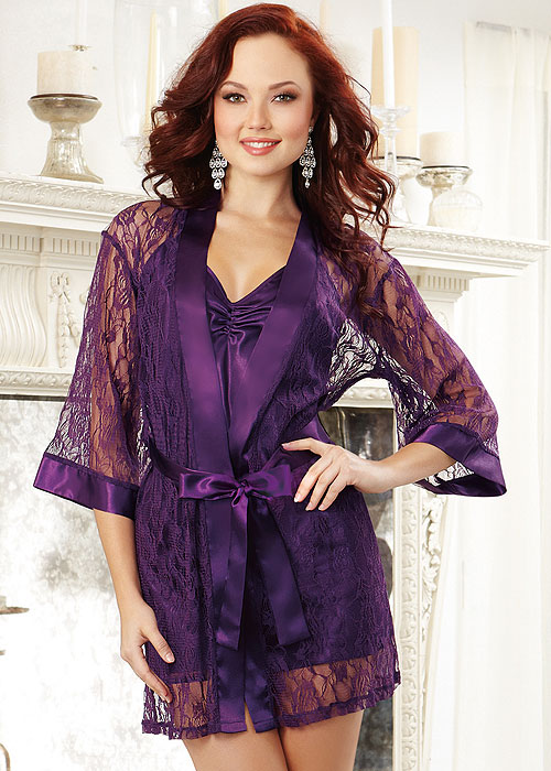 Dreamgirl Satin Lace Robe and Matching Babydoll