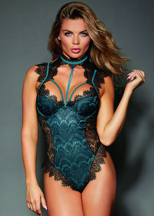 Dreamgirl Satin Teddy With Contrast Eyelash Lace Overlay