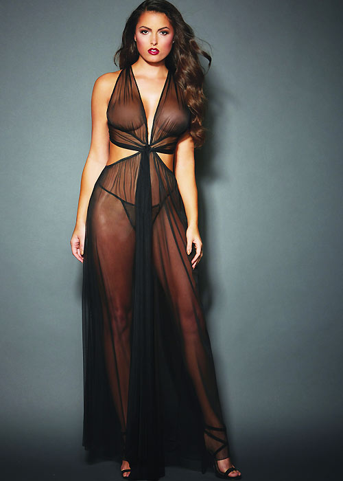 Dreamgirl Sheer Grecian Style Gown With Floor Length Hem with Matching G-String