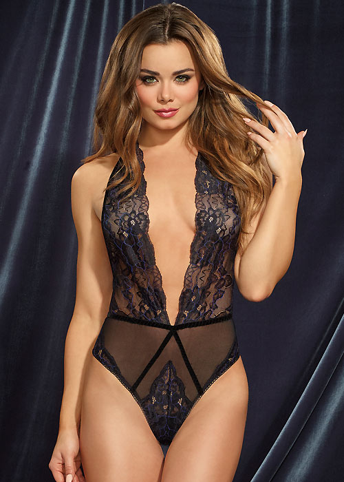 Dreamgirl Velvet Trimmed Lace Teddy