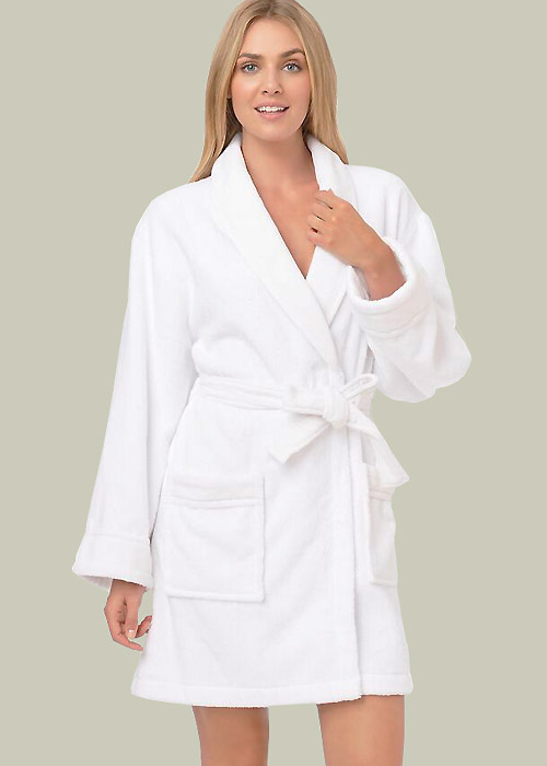DKNY Signature Collection Short Terry Robe