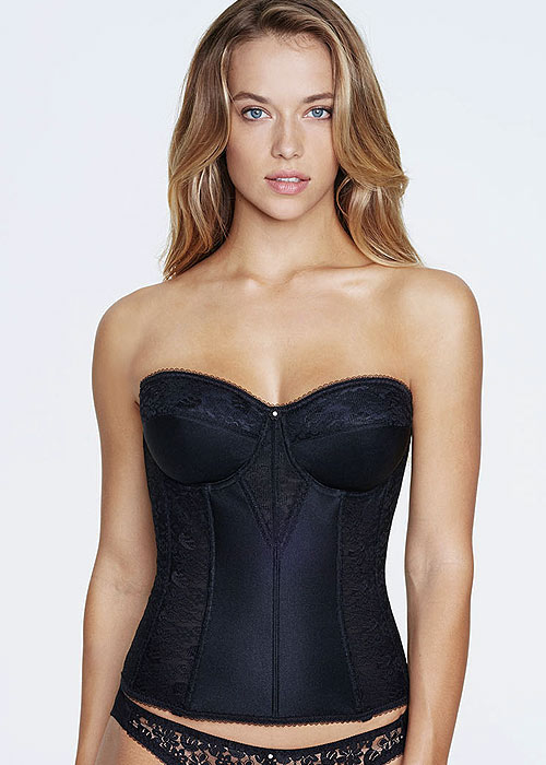 Dominique Colette Satin And Lace Basque With Straps