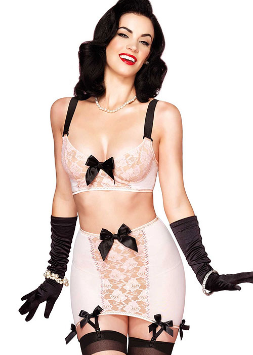 Leg Avenue 3 Piece Blush Set Underwired Bra with Matching G-String and Girdle Skirt