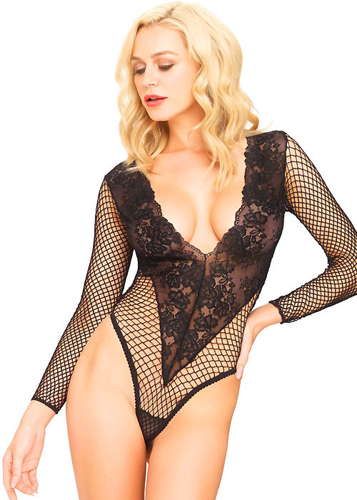 Leg Avenue Deep V Floral Lace & Net Teddy