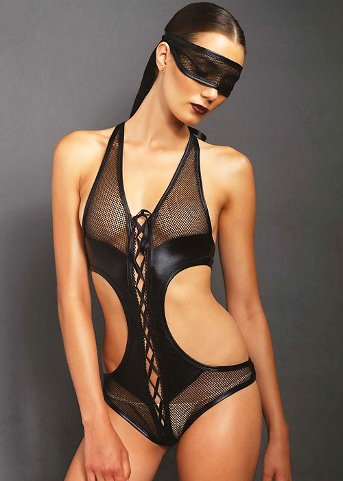Leg Avenue KINK Lace Up Fishnet Teddy And Matching Eye Mask