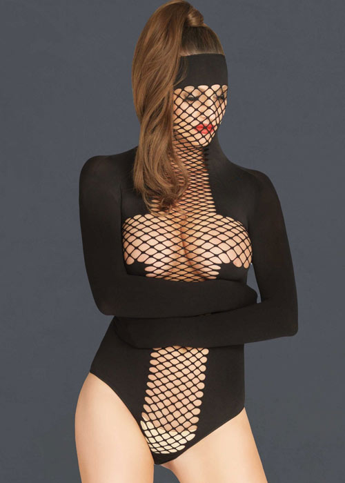 Leg Avenue KINK Opaque and Net Masked Teddy With Wrap Around Restraint Sleeves