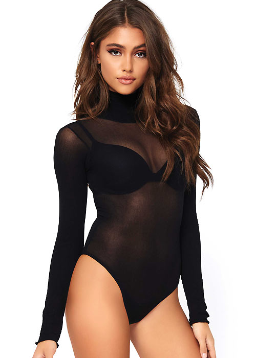 Leg Avenue Opaque High Neck Long Sleeved Bodysuit With Snap Crotch