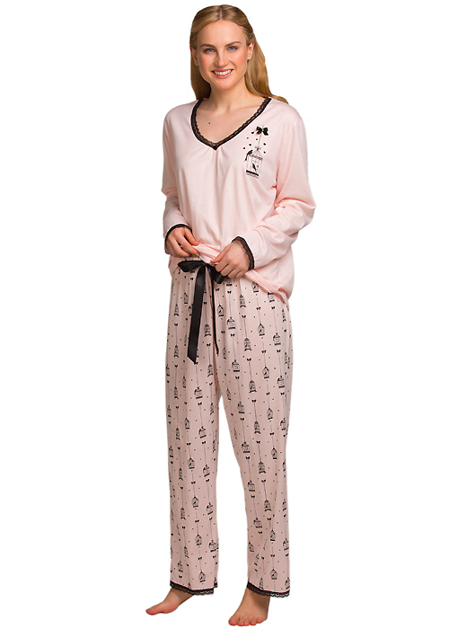 La Marquise Love Birds Lace Trim Pyjama Set