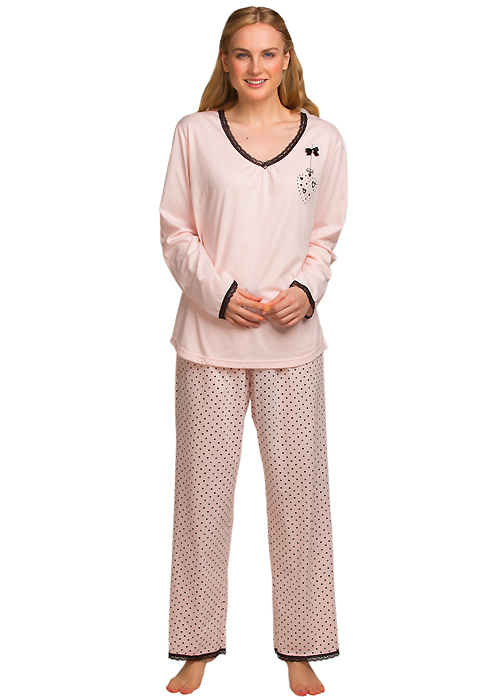 La Marquise Lace Trim Love Hearts Pyjama Set