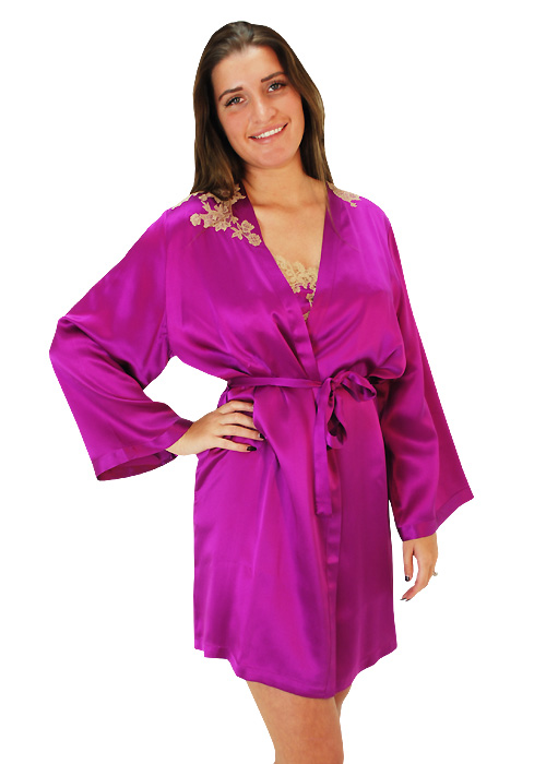 Marjolaine Orchid French Silk Short Robe