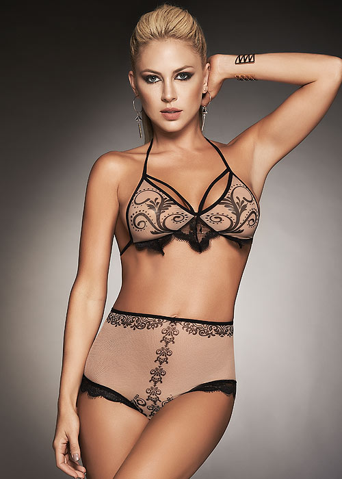 Mapale Italic Print Triangle Bra and Brief Two Piece Set