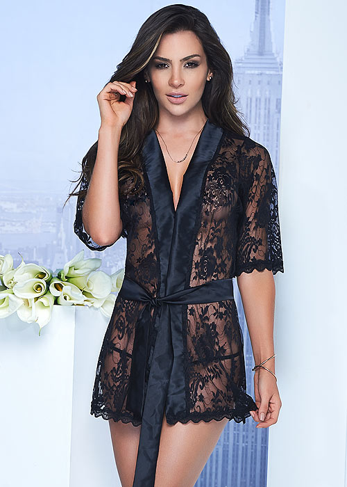 Mapale Lace Robe With Matching G-String