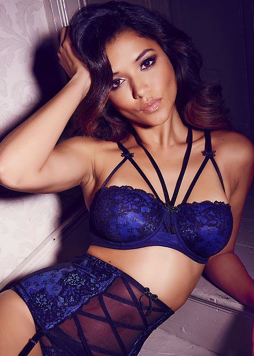 Pour Moi Hush Black And Blue Underwired Bra
