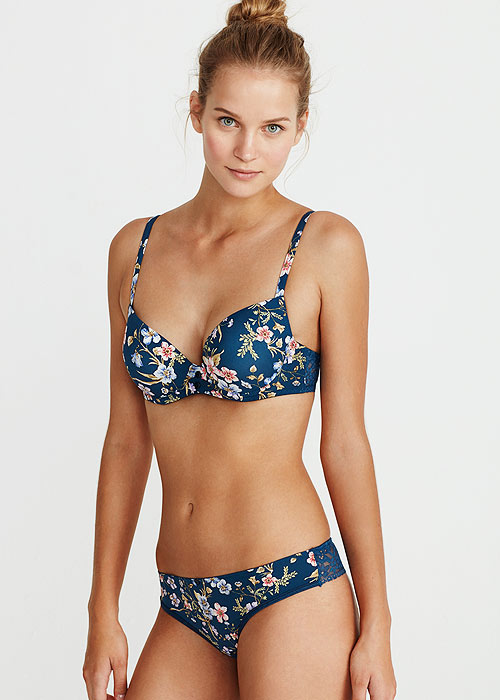 Promise Electra Floral Push Up Bra And Thong