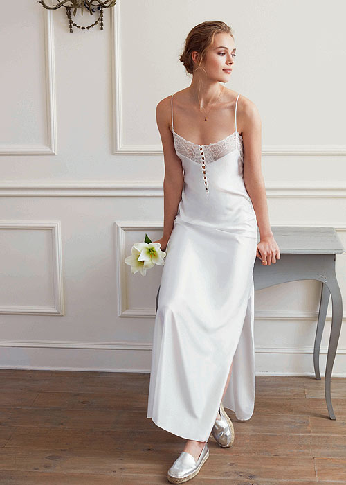Buy promise special night long strappy satin night gown for Bra for wedding dress shopping