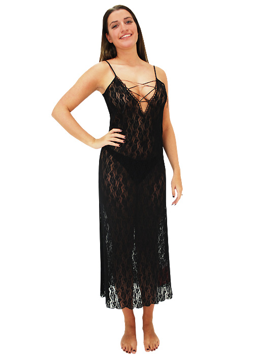 Repose Noir Lace Front Nightdress