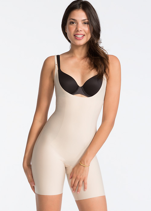 Spanx Open Bust Mid Thigh Body Suit