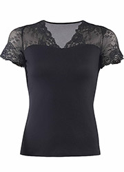 Blackspade Tulle Lace Short Sleeve T Shirt