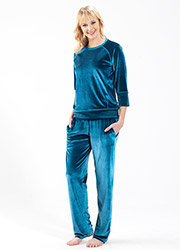 Blackspade Velvet Round Neck Pyjama Set Zoom 1