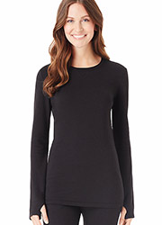 Cuddl Duds Comfort Wear Long Sleeve Crew With Thumbholes Zoom 2