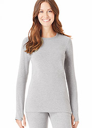 Cuddl Duds Comfort Wear Long Sleeve Crew With Thumbholes Zoom 1