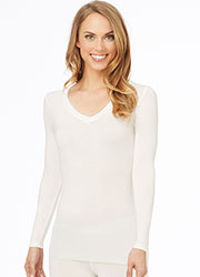 Cuddl Duds Softwear With Stretch V Neck Long Sleeve Top Zoom 3