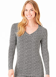 Cuddl Duds Softwear With Stretch V Neck Long Sleeve Top Zoom 1