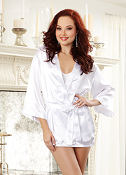 Dreamgirl Charmeuse Bridal Robe and Babydoll Set Zoom 2