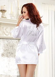 Dreamgirl Charmeuse Bridal Robe and Babydoll Set Zoom 1