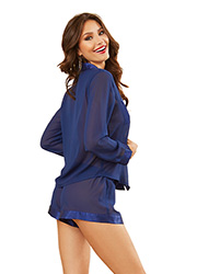 Dreamgirl Chiffon Longsleeve Blouse With Matching Shorts Zoom 2