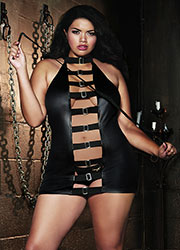 Dreamgirl Faux Leather Halter Chemise With Buckle Front Detail And Braided Leather Whip Queen Size
