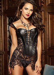 Dreamgirl Faux Leather and Venice Lace Fully Boned Corset Zoom 2