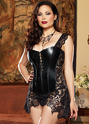 Dreamgirl Faux Leather and Venice Lace Fully Boned Corset Queen Size Zoom 2