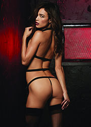 Dreamgirl Mesh And Elastic Bustier High Neck Detail With Attached Garter And Matching G-String Zoom 2