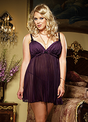 Dreamgirl Pleated Chiffon Babydoll and Matching Thong
