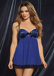 Dreamgirl Sapphire And Black Lace Babydoll And Brief Zoom 1