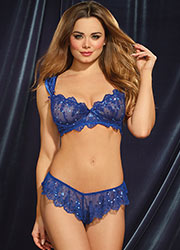 Dreamgirl Sapphire Sequin Lace Ruffled Bra And Panty Set Zoom 1