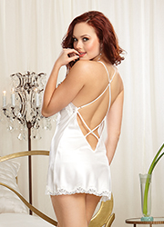 Dreamgirl Satin and Rhinestone Bridal Chemise Zoom 2
