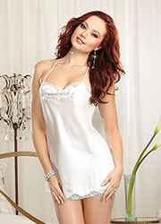 Dreamgirl Satin and Rhinestone Bridal Chemise Zoom 1