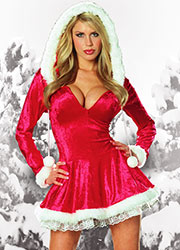 Dreamgirl Sleigh Belle Velvet Santa Costume With Hood