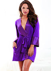 Dreamgirl Soft Jersey Robe With Satin Trim Zoom 1