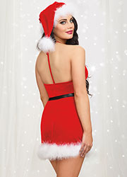 Dreamgirl Velvet Santa Halter Chemise With Matching Hat Zoom 2