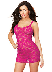Dreamgirl Lace Chemise With Lace Thong